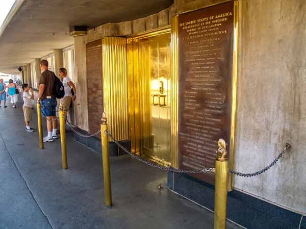 Elevators at the top of Hoover Dam is the Generator Room Tour exit on the Hoover Dam Premium Bus Tour